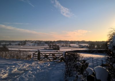 Snowy fields looking towards Barston