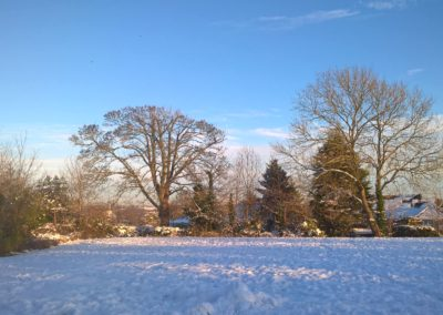 A snowy school field
